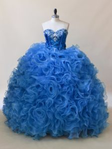 Superior Blue Sweetheart Lace Up Ruffles and Sequins 15 Quinceanera Dress Sleeveless