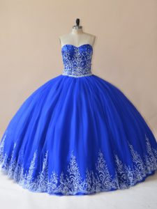 Low Price Sleeveless Tulle Floor Length Lace Up Quince Ball Gowns in Royal Blue with Embroidery