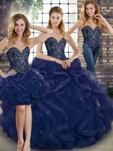 Elegant Sweetheart Sleeveless Lace Up Quinceanera Dress Navy Blue Tulle