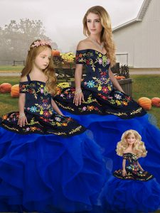 Exceptional Royal Blue Sleeveless Floor Length Embroidery and Ruffles Lace Up Ball Gown Prom Dress