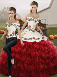 Excellent Wine Red Quinceanera Dress Military Ball and Sweet 16 and Quinceanera with Embroidery and Ruffled Layers Off The Shoulder Sleeveless Lace Up