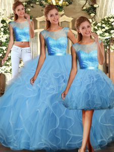 Flare Floor Length Baby Blue Sweet 16 Quinceanera Dress Scoop Sleeveless Backless