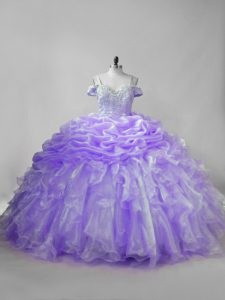 Lavender Sleeveless Beading and Ruffles and Pick Ups Lace Up 15th Birthday Dress