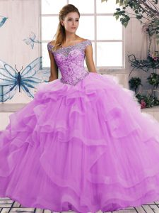 New Arrival Sleeveless Lace Up Floor Length Beading and Ruffles Quinceanera Gown