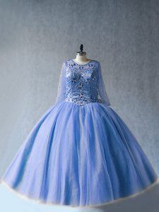 Sophisticated Blue Scoop Neckline Beading Ball Gown Prom Dress Long Sleeves Lace Up
