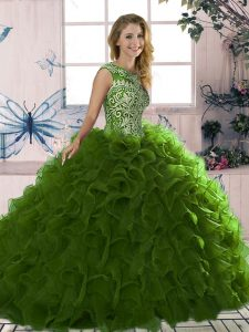 Glittering Organza Sleeveless Floor Length Sweet 16 Dress and Beading and Ruffles