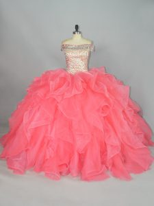 Modest Off The Shoulder Sleeveless Lace Up Sweet 16 Quinceanera Dress Watermelon Red Organza