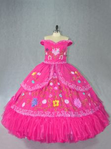 Off The Shoulder Sleeveless Lace Up Ball Gown Prom Dress Hot Pink Organza
