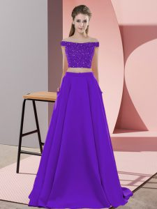 Purple Two Pieces Off The Shoulder Sleeveless Elastic Woven Satin Sweep Train Backless Beading Dress for Prom