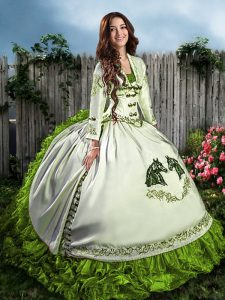Dynamic Olive Green 15th Birthday Dress Sweet 16 and Quinceanera with Embroidery and Ruffles Sweetheart Sleeveless Lace Up