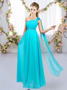 Floor Length Aqua Blue Damas Dress One Shoulder Sleeveless Lace Up