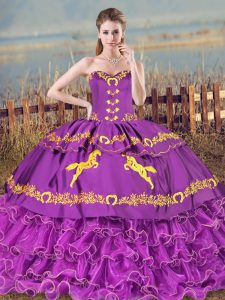 Purple Sleeveless Embroidery and Ruffled Layers Lace Up 15 Quinceanera Dress