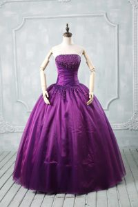 Purple Lace Up Strapless Beading Sweet 16 Dress Organza Sleeveless