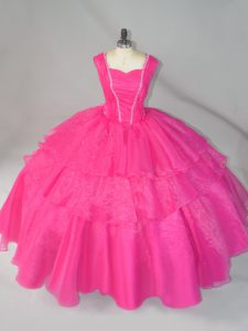 Hot Pink Sleeveless Beading Floor Length Sweet 16 Quinceanera Dress