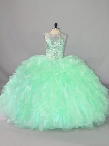Floor Length Lace Up Sweet 16 Dresses Apple Green for Sweet 16 and Quinceanera with Beading and Ruffles