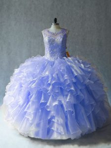Deluxe Lavender Ball Gowns Beading and Ruffles 15 Quinceanera Dress Lace Up Organza Sleeveless Floor Length