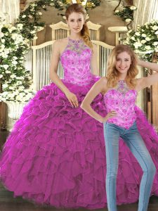 Cute Sleeveless Floor Length Beading and Ruffles Lace Up Sweet 16 Dress with Fuchsia