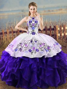 Elegant Ball Gowns Sweet 16 Dress White And Purple Halter Top Organza Sleeveless Floor Length Lace Up