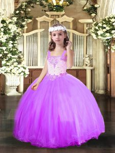 Lavender Ball Gowns Beading Pageant Dress Lace Up Tulle Sleeveless Floor Length
