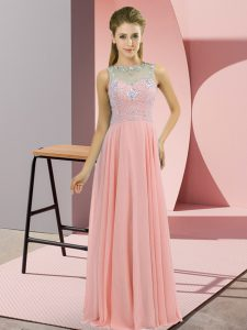 Superior Chiffon High-neck Sleeveless Zipper Beading Homecoming Dress in Pink