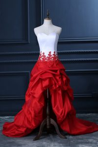 Enchanting White And Red Homecoming Dress Prom and Party and Military Ball with Lace and Appliques and Pick Ups Sweetheart Sleeveless Lace Up