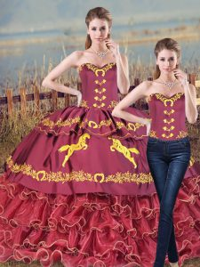 Dazzling Embroidery and Ruffles Quinceanera Dresses Burgundy Lace Up Sleeveless Brush Train