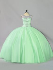 Captivating Floor Length Lace Up Quinceanera Gowns Apple Green for Sweet 16 with Sequins