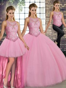 Customized Three Pieces Quinceanera Gowns Pink Scoop Tulle Sleeveless Floor Length Lace Up