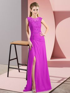 Column/Sheath Prom Evening Gown Fuchsia Scoop Chiffon Sleeveless Floor Length Zipper