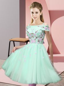 Modern Short Sleeves Knee Length Appliques Lace Up Wedding Guest Dresses with Apple Green