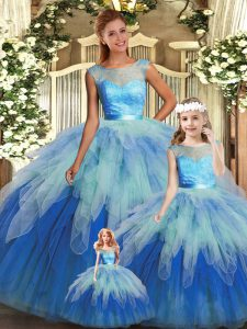 Scoop Sleeveless Sweet 16 Quinceanera Dress Floor Length Beading and Ruffles Multi-color Tulle