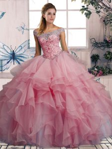 Inexpensive Sleeveless Lace Up Floor Length Beading and Ruffles Quinceanera Dress