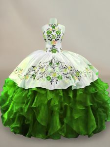 Graceful Green Sleeveless Embroidery Floor Length Sweet 16 Dress