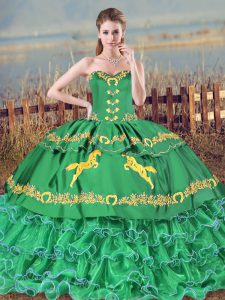 Fashion Sleeveless Brush Train Embroidery and Ruffled Layers Lace Up Vestidos de Quinceanera
