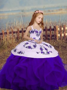 New Style Purple Sleeveless Embroidery and Ruffles Floor Length Pageant Dresses