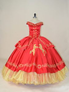 Fitting Red Satin and Organza Lace Up Off The Shoulder Sleeveless Floor Length Quinceanera Gowns Embroidery