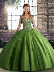 Custom Fit Straps Sleeveless Quinceanera Dresses Floor Length Beading and Appliques Green Tulle