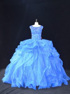 Smart Blue 15 Quinceanera Dress Organza Brush Train Sleeveless Beading and Ruffles
