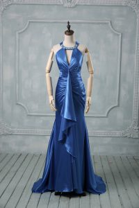 Custom Made Blue Criss Cross Dress for Prom Beading and Ruching Sleeveless Brush Train