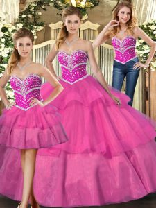 Amazing Sleeveless Tulle Floor Length Lace Up Ball Gown Prom Dress in Lilac with Beading and Ruffled Layers