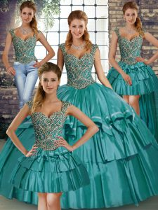 On Sale Straps Sleeveless Lace Up 15th Birthday Dress Teal Taffeta