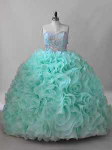 Ball Gowns Sleeveless Apple Green Quinceanera Gown Brush Train Lace Up