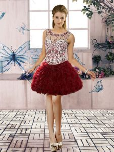 Fashion Burgundy Organza Lace Up Prom Evening Gown Sleeveless Mini Length Beading and Ruffles