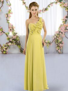 Yellow Green Empire Chiffon One Shoulder Sleeveless Hand Made Flower Floor Length Lace Up Dama Dress for Quinceanera