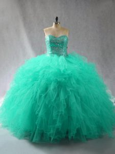 Floor Length Lace Up Quinceanera Dress Turquoise for Sweet 16 and Quinceanera with Beading and Ruffles