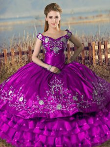Purple Lace Up Quinceanera Dresses Embroidery and Ruffled Layers Sleeveless Floor Length