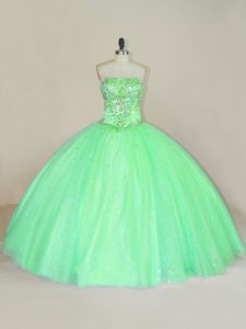 Stylish Floor Length Green Quinceanera Gowns Strapless Sleeveless Lace Up