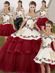 Cute Wine Red Lace Up Off The Shoulder Embroidery and Ruffled Layers Quinceanera Gowns Tulle Sleeveless Brush Train
