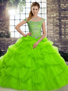 Modest Tulle Off The Shoulder Sleeveless Brush Train Lace Up Beading and Pick Ups Ball Gown Prom Dress in