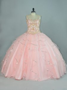 Peach Tulle Lace Up Straps Sleeveless Floor Length Quinceanera Gowns Beading and Ruffles